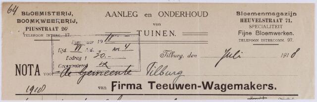 061212 - Briefhoofd. Nota van Firma Teeuwen-Wagemakers, aanleg en onderhoud van tuinen, Piusstraat voor de gemeente Tilburg