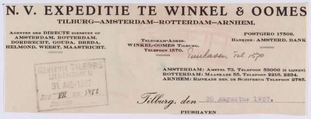 061432 - Briefhoofd. Briefhoofd van N.V. Expeditie te Winkel & Oomes N.V., Piushaven