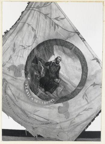 88991 - Kloveniersgilde St. Antonius. Middenstuk van de geschilderde vlag of vendel (vermoedelijk 18e eeuw)