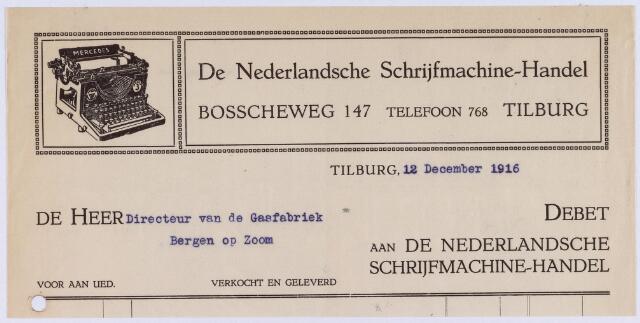 060811 - Briefhoofd. Nota van De Nederlandsche  Schrijfmachine-Handel, Bosscheweg 147 voor het gasfabriek te Bergen op Zoom