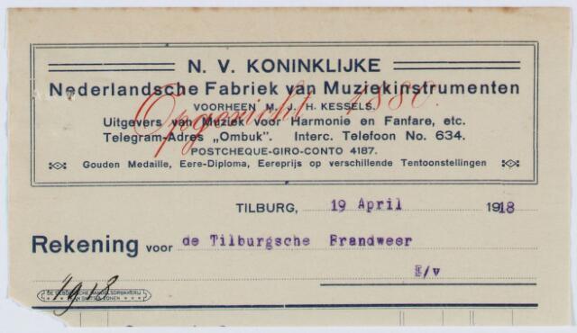 060449 - Briefhoofd. nota van N.V. Koninkl. Nederl. Fabriek van Muziekinstrumenten voorheen M.J.H. Kessels, Artistieke fabrikatie van koperen en houten blaasinstrumenten, strijkinstrumenten enz. enz. voor de gemeente Tilburg, afdeling brandweer