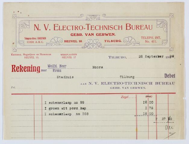 060137 - Briefhoofd. Nota van N.V. Electro-technisch bureu, voorh. Gebr. van Gerwen-Tilburg, handel in alle soorten electrische apparaten, Heuvel 17 voor Moors, Staduis Tilburg