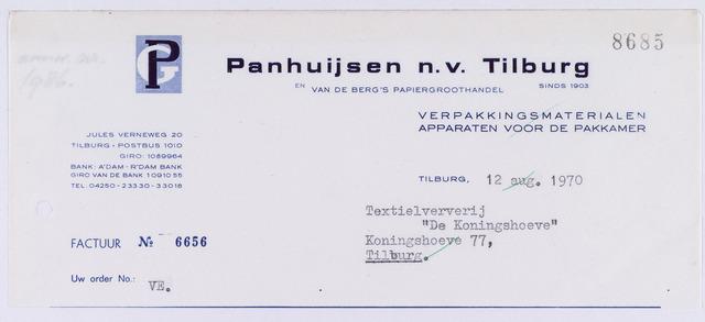 060879 - Briefhoofd. Nota van Panhuijsen N.V., verpakkingsmaterialen, Heuvel 86 voor Coöp. Ververijen, Koningshoeven 77