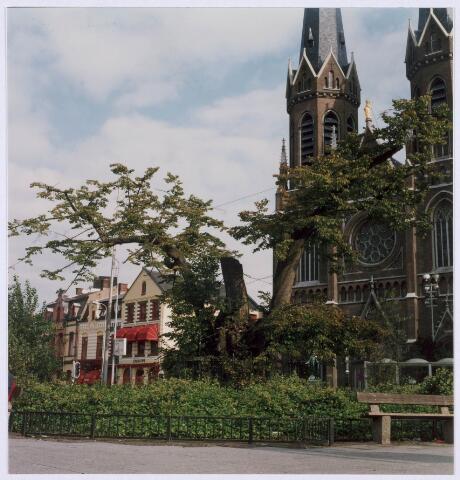 021411 - Lindeboom op de Heuvel in 1992, kort voordat hij zou worden geveld. Op deze plaats ligt nu de ingang van de ondergrondse fietsenparkeerplaats