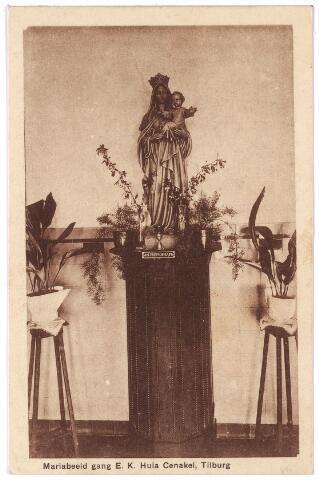 001409 - Mariabeeld in de gang van het retraitehuis en klooster van O.L.V. van het Cenakel aan de Koningshoeven, nu Kempenbaan. Deze kaart werd verkocht voor 10 cent ten bate van het retraitewerk.