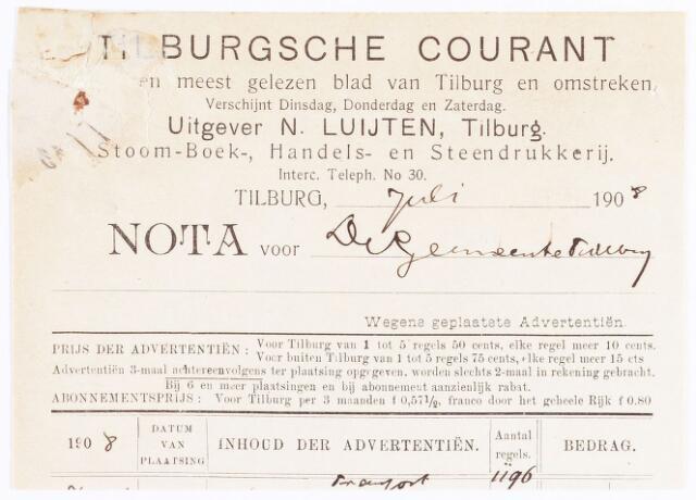 060619 - Briefhoofd. Nota van Tilburgsche courant , anderdaagsch nieuwsblad, rotatiedruk der Firma N. Luijten voor de gemeente Tilburg