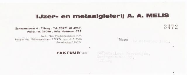 """060701 - Briefhoofd. Nota van IJzer- & Metaalgieterij, A.A. Melis,  Surinamestraat 4, voor Textielververijen """"De Koningshoeven"""" Koningshoeven 77"""