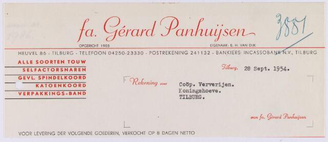 060876 - Briefhoofd. Nota van Fa. Gérard Panhuijsen, alle soorten touw, Heuvel 86 voor Coöp. Ververijen, Koningshoeven 77