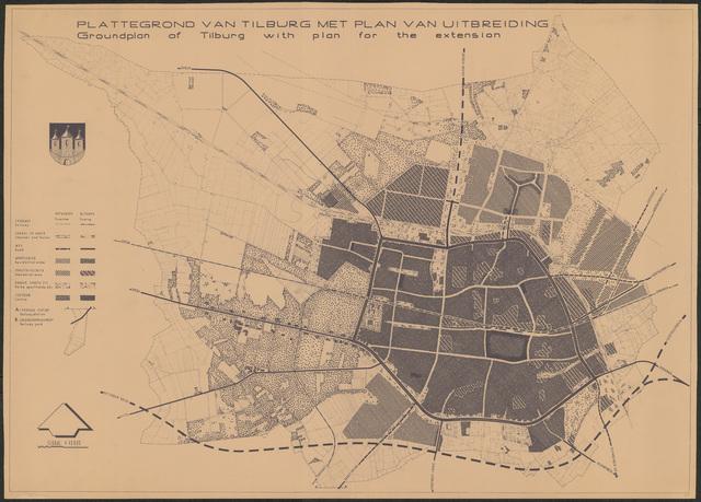 652545 - Plattegrond van Tilburg met plan van uitbreiding.