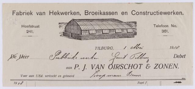 060849 - Briefhoofd. Nota van P.J. van Oirschot & Zonen, fabriek van hekwerken, broeikassen en constructiewerken, Hoefstraat 241 voor de gemeente Tilburg
