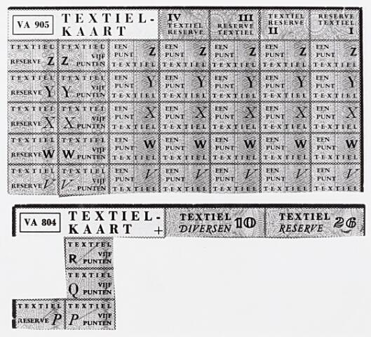 013951 - Tweede Wereldoorlog. Distributie. Bonnen waarmee textielartikelen konden worden aangeschaft