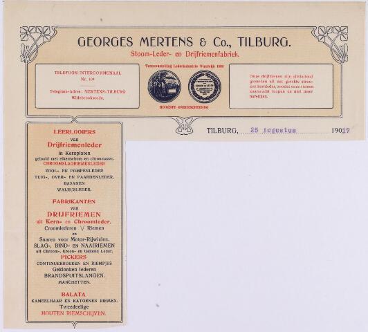 060735 - Briefhoofd. Briefhoofd van Georges Mertens & Co, Stoom-, Leder- en Drijfriemenfabriek.