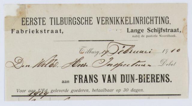 059994 - Briefhoofd. nota van Frans van Dun-Bierens, Eerste Tilburgsche Vernikkelinrichting, Fabriekstraat voor de heer Inspecteur
