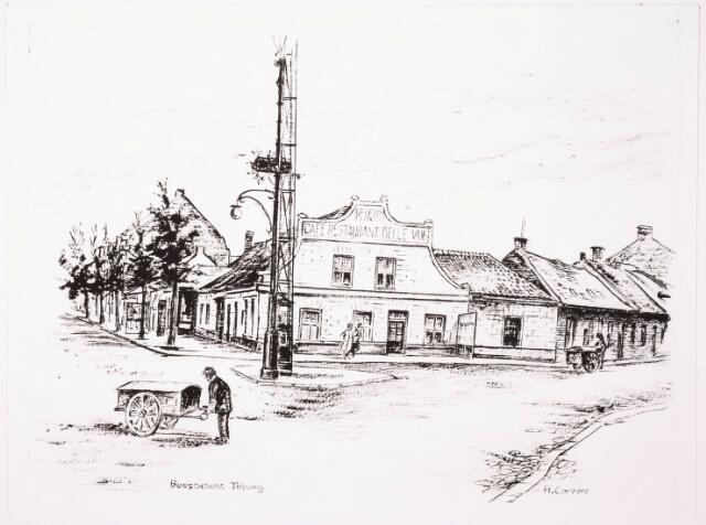 033361 - Tekening. Tekening van H. Corvers naar een oudere foto van de Bosscheweg (nu Tivolistraat) en de St. Josephstraat.