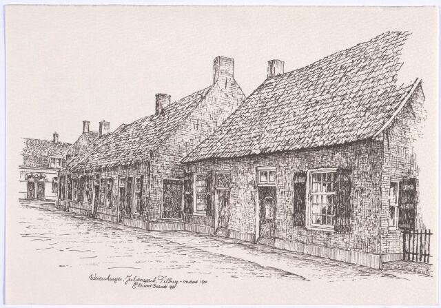 023386 - Tekening. Wevershuisjes rond 1900, toen het Julianapark nog niet was aangelegd