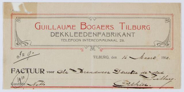 059662 - Briefhoofd. Nota van Guillaume Bogaers Tilburg, Dekkleedenfabrikant voor de brandweer van Tilburg