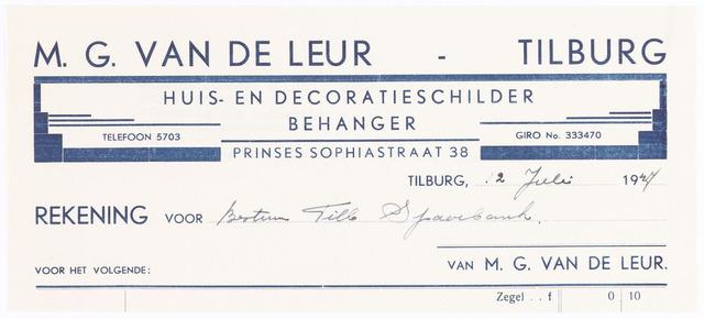 060574 - Briefhoofd. Nota van M.G. v.d. Leur, huis-, decoratie- en reclameschilder, Prinses Sophiastraat 38 voor Tilburgsche Spaarbank.