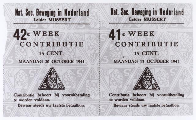 012997 - Tweede Wereldoorlog. NSB. Betaalbon voor het lidmaatschap van de Nationaal Socialistische Beweging