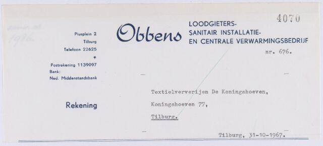 060843 - Briefhoofd. Nota van Obbens, Loodgieters-, sanitair installatie- en centrale verwarmingsbedrijf, Piusplein 2 voor Textielververijen De Koningshoeven, Koningshoeven 77