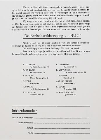012772 - Tweede Wereldoorlog. Bevrijding. Publicatie van de pas opgerichte Eenheidsvakbeweging waarin geageerd wordt tegen de oude, in haar optiek achterhaalde, vakbeweging van voor de oorlog