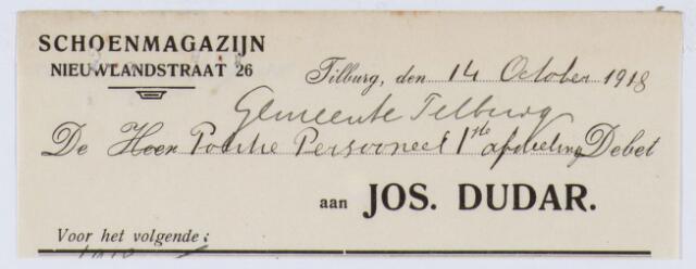 059982 - Briefhoofd. Nota van Jos Dudar, Schoenmagazijn Nieuwlandstraat 26, voor de politie van Tilburg