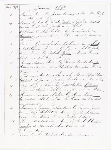 007779 - Detail doopboek parochie Heike met doop acte van Antonius Martinus Henricus Roothaert op 9 juni 1896.