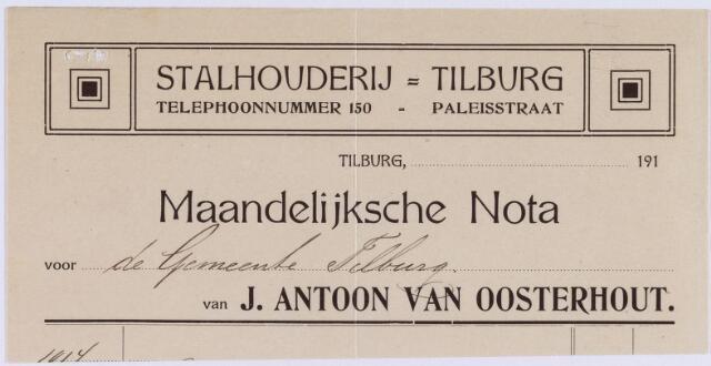 060855 - Briefhoofd. Nota van J. Antoon van Oosterhout, stalhouderij, Paleistraat voor de gemeente Tilburg
