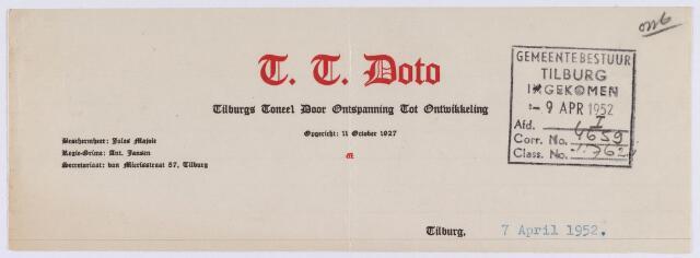 061474 - Briefhoofd. Verenigingen. Briefhoofd van T.T. Doto, Tiburgse Toneel Door Ontspanning Tot Ontwikkeling, van Mierisstraat 57