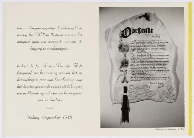 048991 - Festiviteiten te Tilburg b.g.v. het 50-jarig regeringsjubilé van Koningin Wilhelmina op 6 september 1948. Aankomst van koning Willem II bij de 'Vier Winden' aan de Bredaseweg ter hoogte van het oud Belgisch lijntje.  Verslag over deze festiviteiten met optocht staat in het Nieuwsblad van dinsdag 7 september 1948. De oorkonde naar ontwerp van J. Stok.