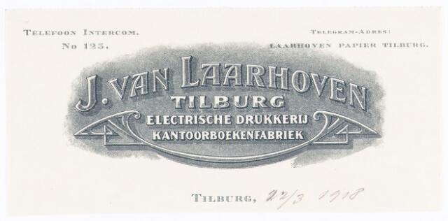 060541 - Briefhoofd. Briefhoofd van J van Laarhoven, Electrische drukkerij, kantoorboekenfabriek, boekdinderij en papierhandel, Wilhelminapark 7