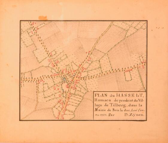 068659 - Kaart. Plan van de Hasselt. Fragment van de kaart van Diederik Zijnen uit 1760, in 1962 gekopieerd door archiefambtenaar Leo Langeweg.
