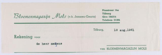 060756 - Briefhoofd. Nota van Bloemenmagazijn Mols (v.h. Janssen-Geurts), Piusstraat 14a