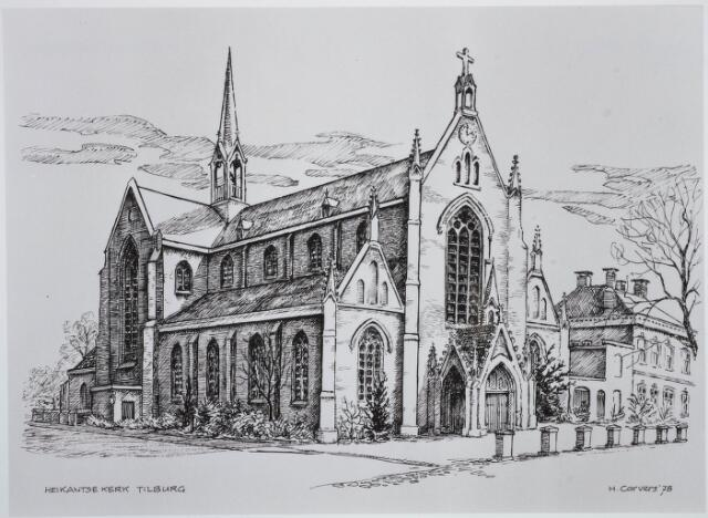 030752 - Tekening. De Schans. R.K. parochiekerk O.L.V. Onbevlekte Ontvangenis (Heikant). Tekening door H. Corvers.