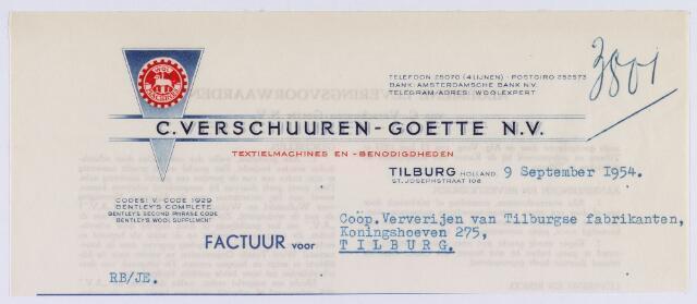 061327 - Briefhoofd. Nota van C. Verschuuren-Goette N.V., textielmachines en benodigdheden, St. Josephstraat 108 voor Coöp. Ververijen van Tilburgse fabrikanten, Koningshoeven 275