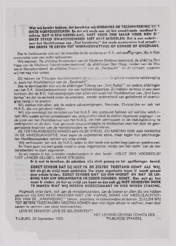 040868 - Vakbeweging. Textielstaking 1935. Pamflet comité van de Tilburgse stakers.