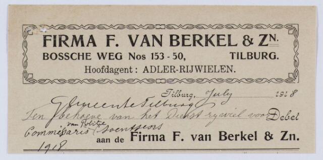 059607 - Briefhoofd. Nota van Firma F van Berkel & Zn. Hoofdagent Adler Rijwielen, Bosscheweg nos. 153-50 voor gemeente Tilburg