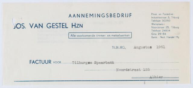 060142 - Briefhoofd. Nota van Aannemingsbedrijf Jos van Gestel Hzn, Noordstraat 25, voor Tilburgse Spaarbank, Noordstraat 125