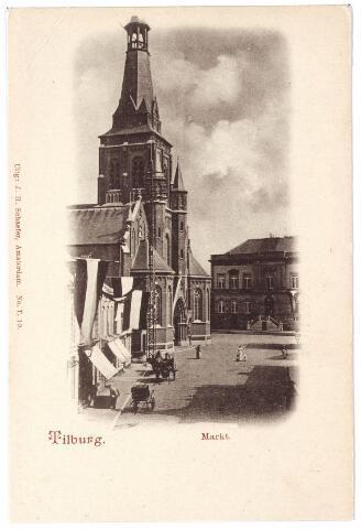001846 - Markt met kerk van het Heike en het voormalige gemeentehuis.