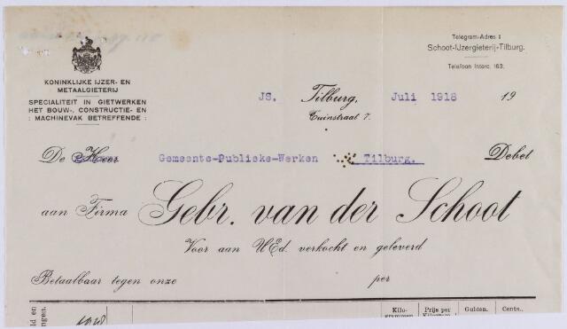 061054 - Briefhoofd. Nota van Firma Gebr. van der Schoot, koninklijke Ijzer- en Metaalgieterij, Tuinstraat 7 voor de gemeente Tilburg