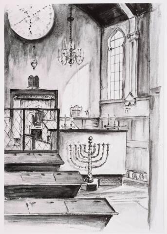 035228 - Tekening. Tekening van de binnenzijde van de Joodse Synagoge in de Willem IIstraat