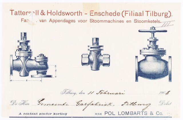060585 - Briefhoofd. Nota van Pol Lombarts & Co ,Tattersell & Holdsworth-Enschede (filiaal Tilburg) voor gemeente gasfabriek Tilburg