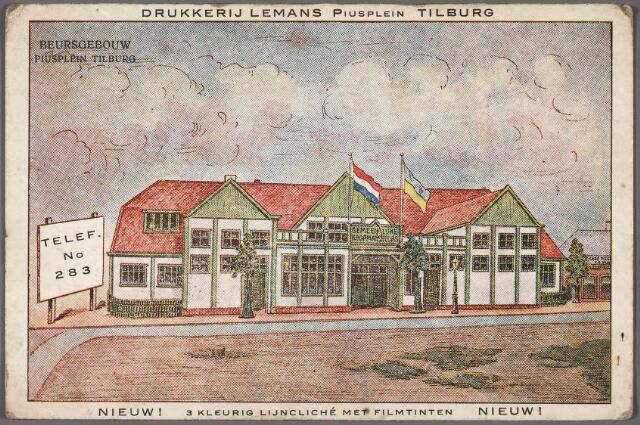 010690 - Het beursgebouw aan de noordzijde van het Piusplein in 1919. De kaart werd gedrukt bij de firma Lemans aan het Piusplein. Op de achterzijde wordt reclame gemaakt voor café-restaurant Jac. Lemans-Grielis aan het Piusplein nr. 19/hoek Emmastraat. 'Per maat' kon men bij Lemans terecht voor trappistenbier, 'Korvelsch dubbel gerste', Z.H.B.-pilsner, jenever, brandewijn en cognac.