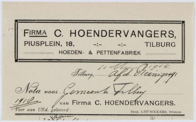 060295 - Briefhoofd. Nota van Firma C. Hoendervangers, Piusplein 18, Hoeden en Pettenfabriek, voor de gemeente Tilburg
