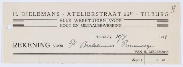 059914 - Briefhoofd. Nota van H. Dieleman-Tilburg, Atelierstraat 70, alle werktuigen voor h out- en metaalbewerking. voor G. Brekelmans te Princenhage