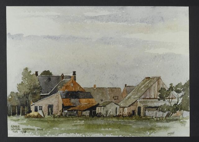 """072173 - Aquarel. Frater Paschalius """"Goirle in aquarel"""". Achterzijde van de voormalige boerderij van de familie Brock-Schellekens aan de Kerkstraat."""
