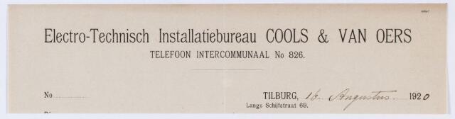 059862 - Briefhoofd. Briefhoofd voor Electro Technisch Installatiebureau Cool & van Oers Tilburg, Lange Schijfstraat 69