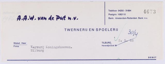 060929 - Briefhoofd. Nota van A.A.W. van de Put N.V., twernerij en spoelerij, Havendijk zuid 36 voor Coöp. Ververijen te Tilburg