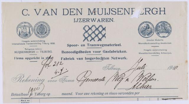 060802 - Briefhoofd. Nota van C. van den Muijsenbergh, ijzerwaren voor de gemeente Tilburg.