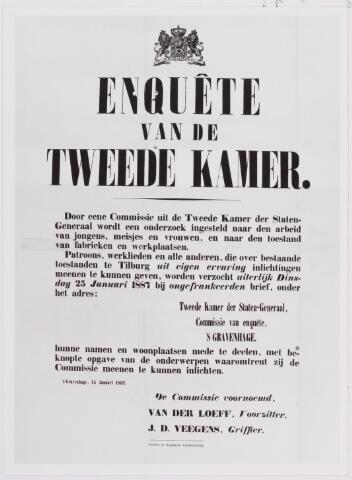 040843 - Parlementaire enquete gehouden in 1887 naar de werking van de wet Van Houten. Afbeelding van een tekening op het verhoor van werknemers en werkneemsters in de industrie en  kinderarbeid.