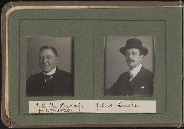 603958 - Links J.L.M. (Lambert) Hardy, geboren in 1887 te Tilburg, aldaar overleden op 29 maart 1920. Was gehuwd met Maria Hobbelen. Rechts J.P.A. Dusee. Albumblad met zogenaamde TipTop-pasfoto´s van het personeel van de gemeentesecretarie van Tilburg, omstreeks 1916.